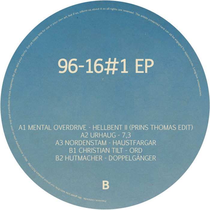 PL010NK<br />VARIOUS ARTISTS<br />96-16#1 EP<br />Release date: 22FEB16