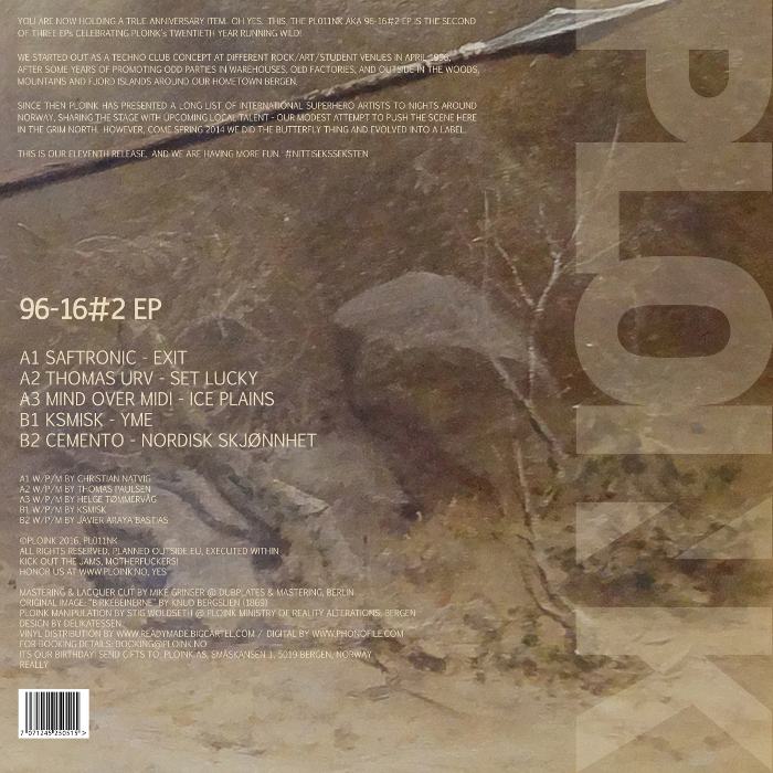 PL011NK<br />VARIOUS ARTISTS<br />96-16#2 EP<br />Release date: 18APR16