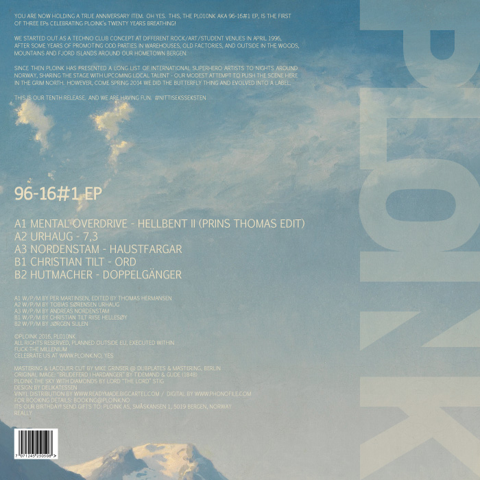 PL010NK<br />VARIOUS ARTISTS<br />96-16#1 EP<br />Release date: 22FEBRUARY16